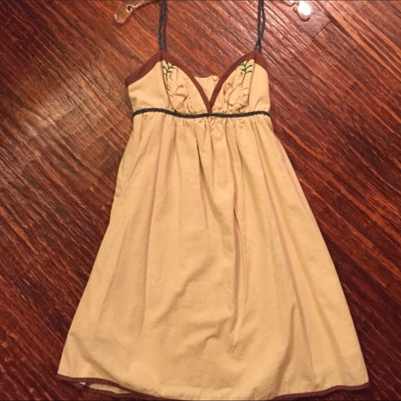 Voom by Joy Han Dresses & Skirts - VOOM JOY HAN Tan Birds Dress w unique straps! NWT